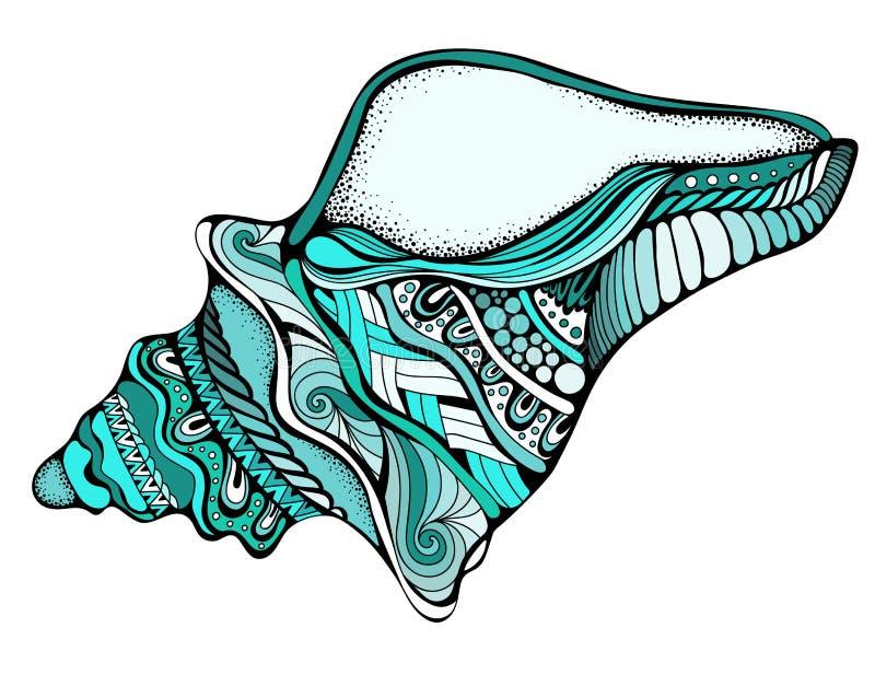 Stylizowany tropikalny mollusk odizolowywający na białym tle ilustracja wektor