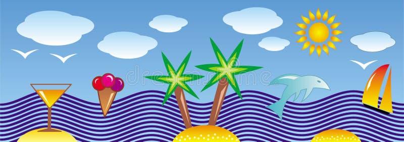 Stylizowany tropikalny seascape Palma, plaża, słońce, morze, palma, delfin, ryba, jacht i frajery, royalty ilustracja