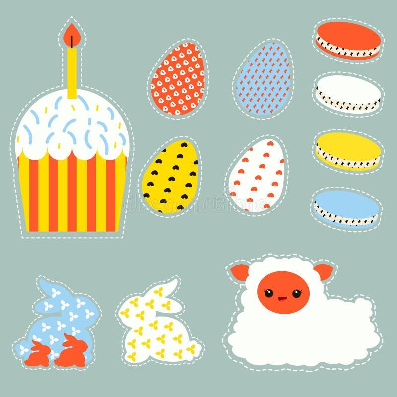 Stylizowany Wielkanocny ustawiający z Easter jajkami, bunnys, tortem i barankiem, royalty ilustracja