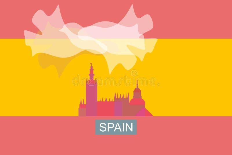 Stylizowany wizerunek Hiszpańska flaga Sylwetka budynek, biała chmura w formie latającego ptaka ilustracji