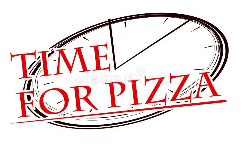 Stylizowany wizerunek pizza i zegarowa twarz z podpisu czasem dla pizzy dla twój projekta lub logo royalty ilustracja