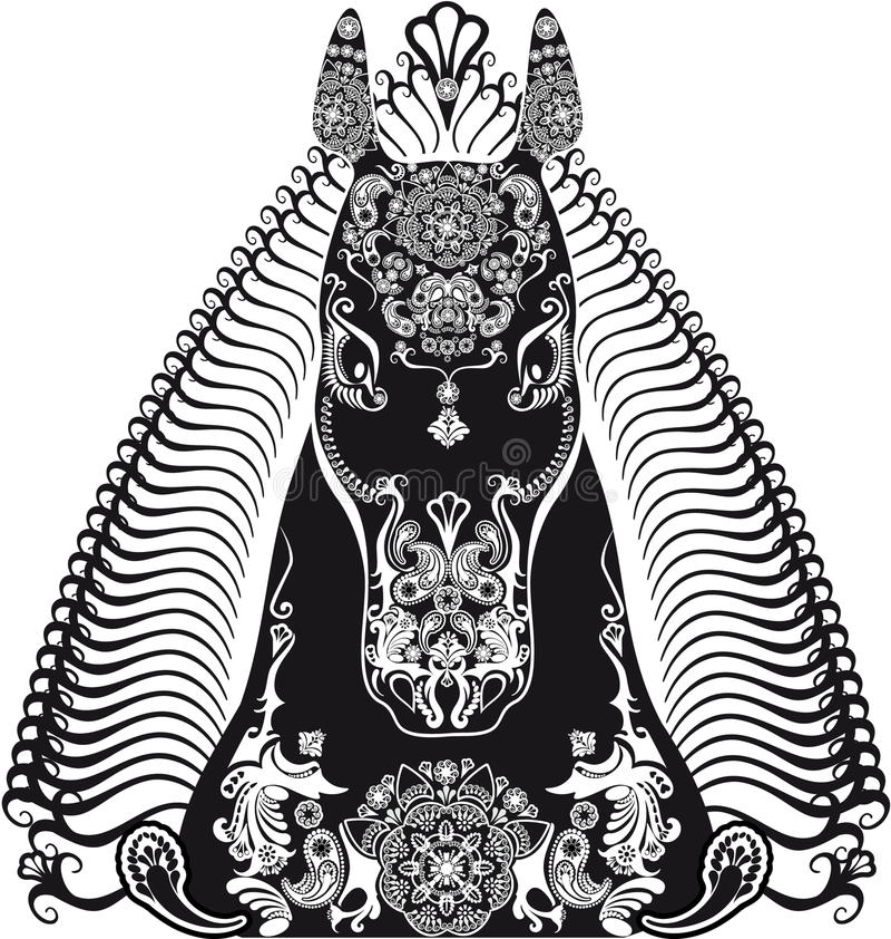 Stylizowany wzorzystości głowy koń czarny i biały ilustracja wektor