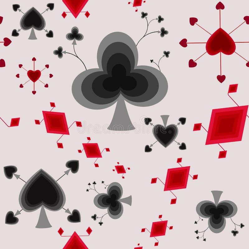 Stylizowanych karta do gry bezszwowy wzór royalty ilustracja