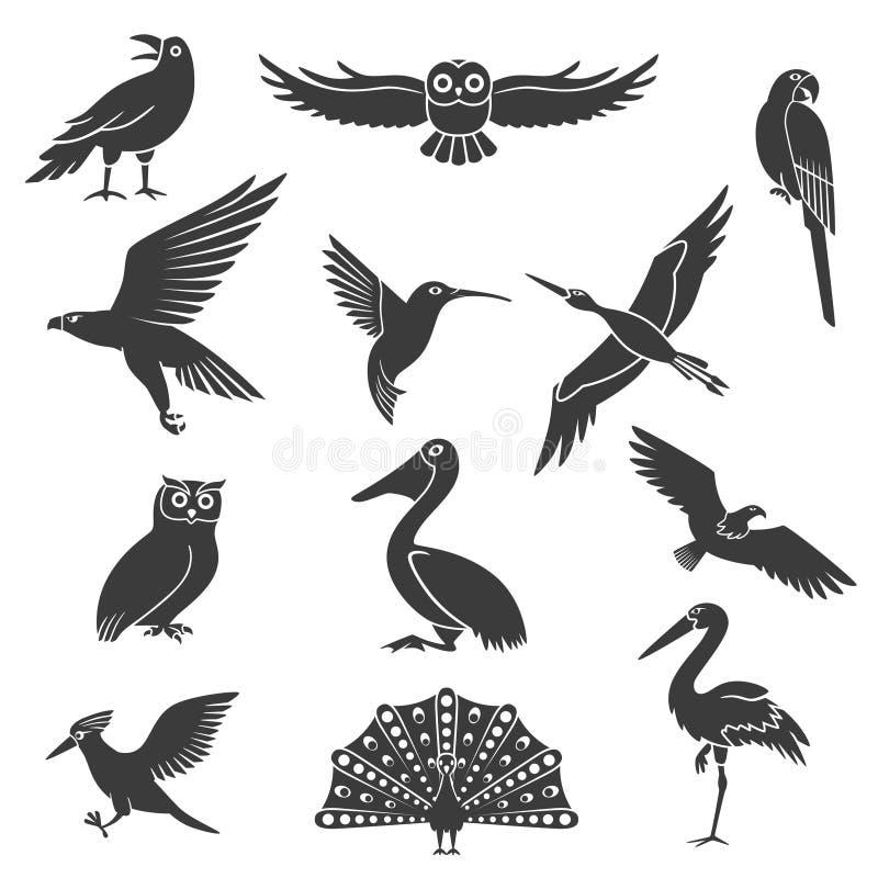 Stylizowanych ptak sylwetek Czarne ikony Ustawiać royalty ilustracja