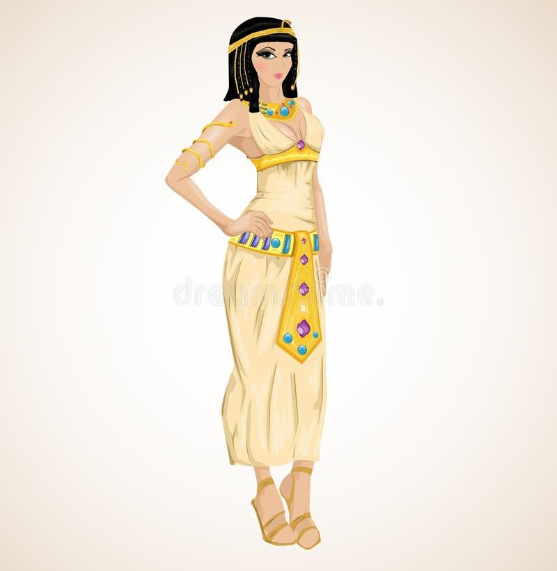 stylizująca Cleopatra piękna dziewczyna royalty ilustracja