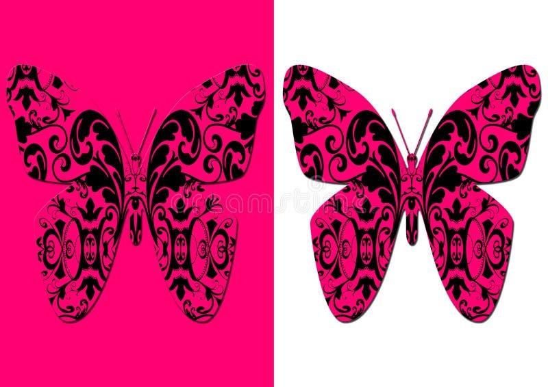 stylizujący motyla adamaszek royalty ilustracja