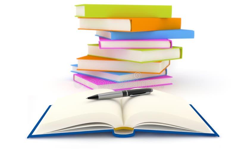 Stylo au-dessus d'un livre ouvert illustration de vecteur