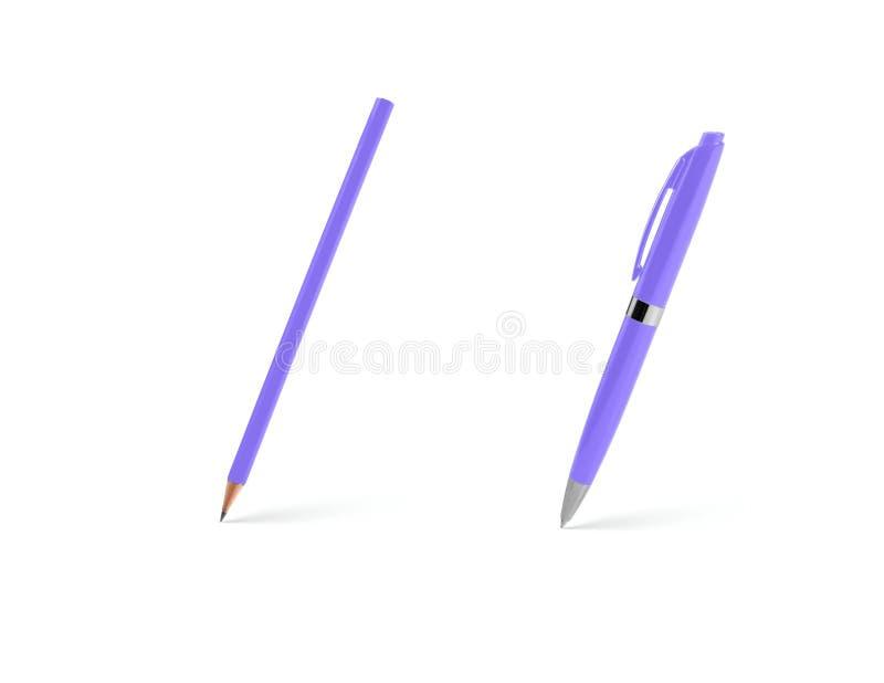 Stylo bille et crayon en plastique pourpres sur un fond blanc photo libre de droits