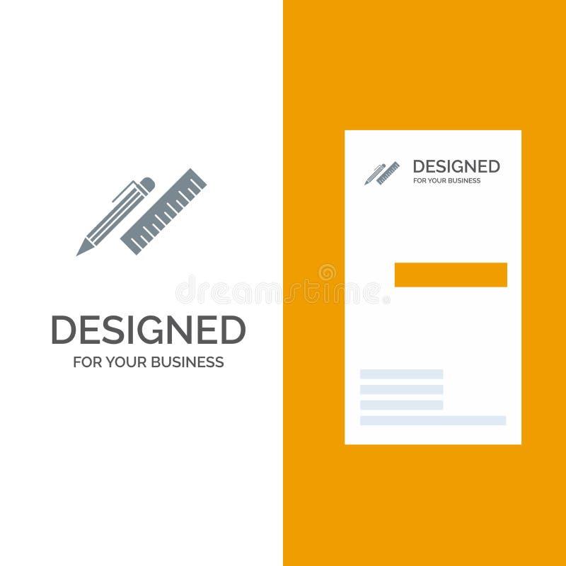 Stylo, bureau, organisateur, crayon, règle, approvisionnements Grey Logo Design et calibre de carte de visite professionnelle de  illustration libre de droits
