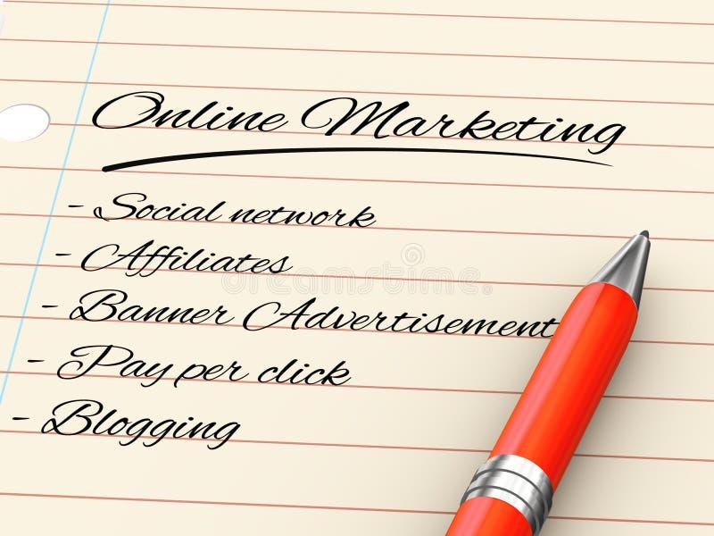 stylo 3d sur le papier - marketing en ligne illustration libre de droits
