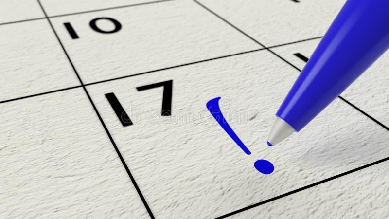 Stylo de boule bleu dessinant une marque d'exclamation dans un calendrier illustration libre de droits