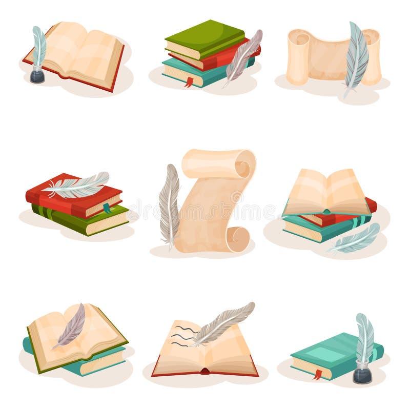Stylo de cannette de cru, livres et rouleaux de papier, symboles de rétro illustration de vecteur d'écriture, de science et de co illustration stock