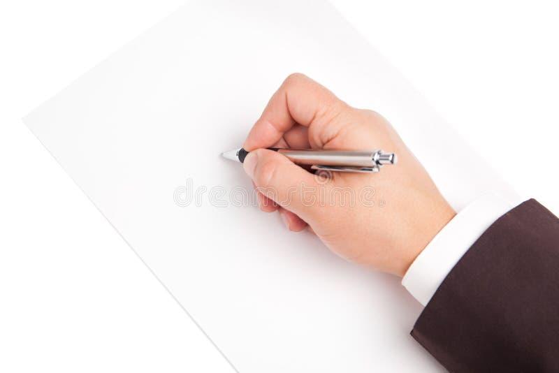 Stylo de participation de main d'isolement sur le fond blanc photos stock