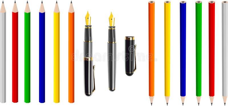 Stylo-plume antique et crayons colorés (vecteur) illustration de vecteur