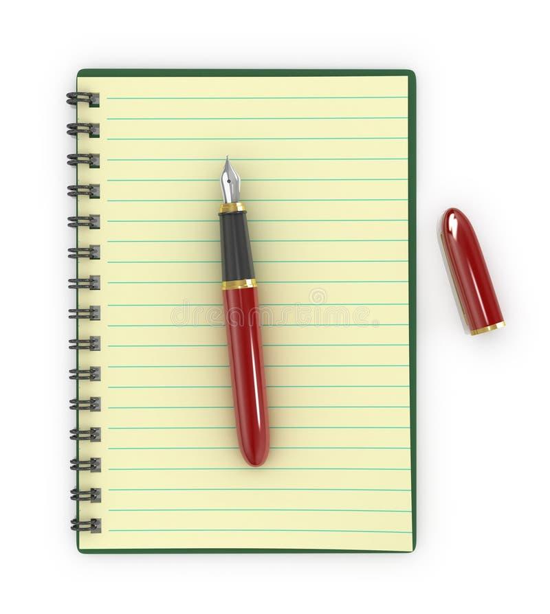 Stylo-plume avec le carnet illustration de vecteur