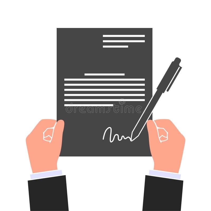 Stylo signé d'accord d'icône de contrat d'affaire de papier, contrat de participation d'homme d'affaires illustration de vecteur