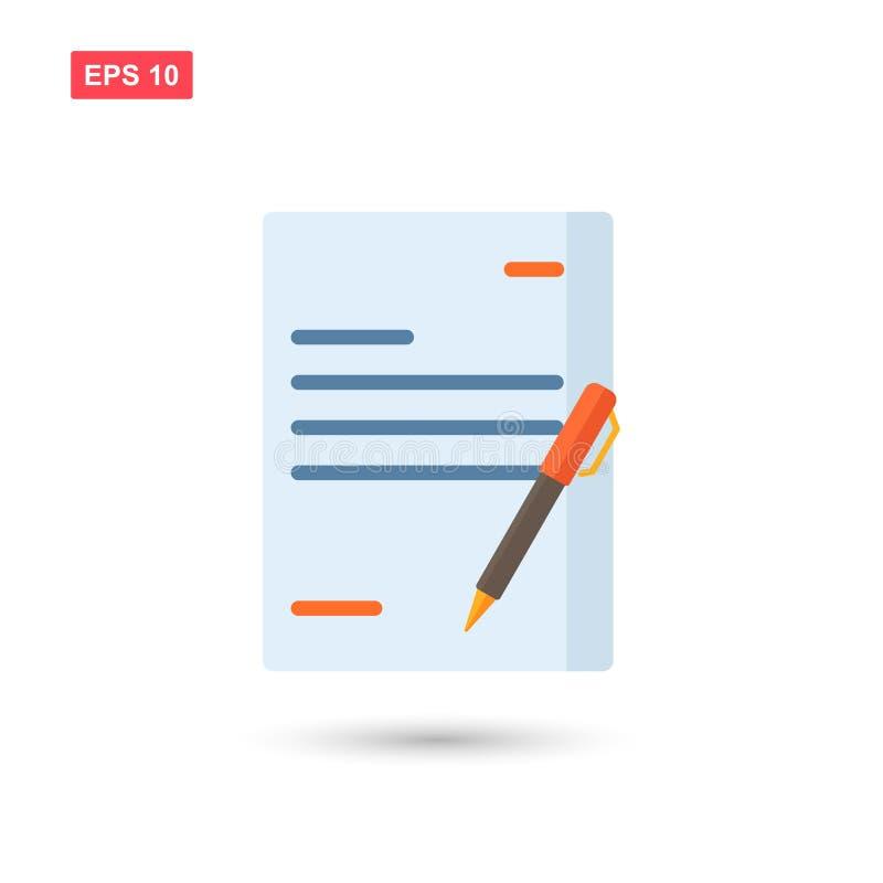 Stylo signé d'accord d'icône de contrat d'affaire de papier sur le bureau d'isolement illustration libre de droits