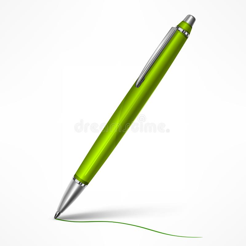 Stylo vert cher d'inclinaison sur le blanc illustration stock