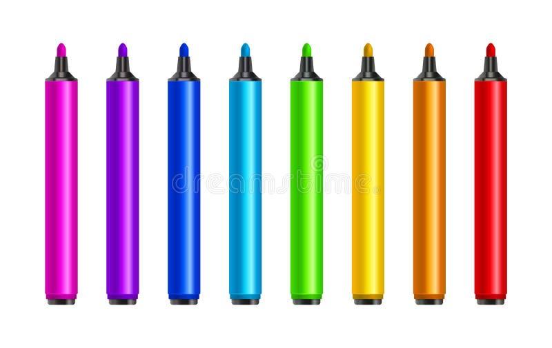 Stylos de marqueur, rouge, vert, jaune, pourpre, bleu Barres de mise en valeur colorées réglées de vecteur Outil de crayon de des illustration de vecteur