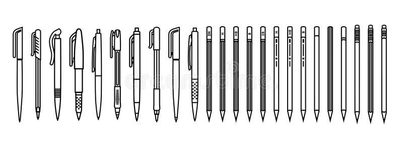 Stylos et ensemble de crayons Approvisionnements d'écriture d'ensemble sur le fond blanc Illustration de vecteur illustration libre de droits