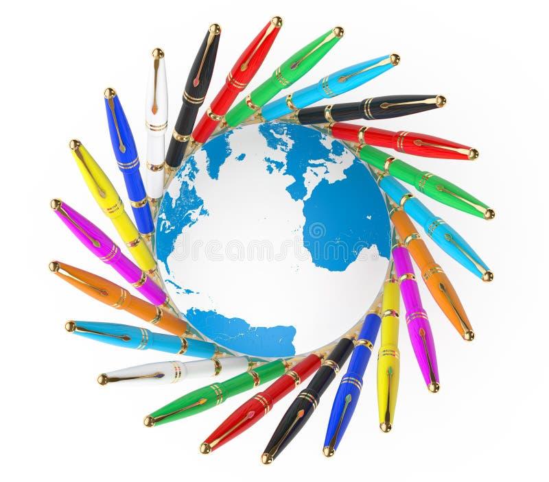 Stylos multicolores d'écriture de fontaine avec le globe de la terre renderi 3D illustration libre de droits