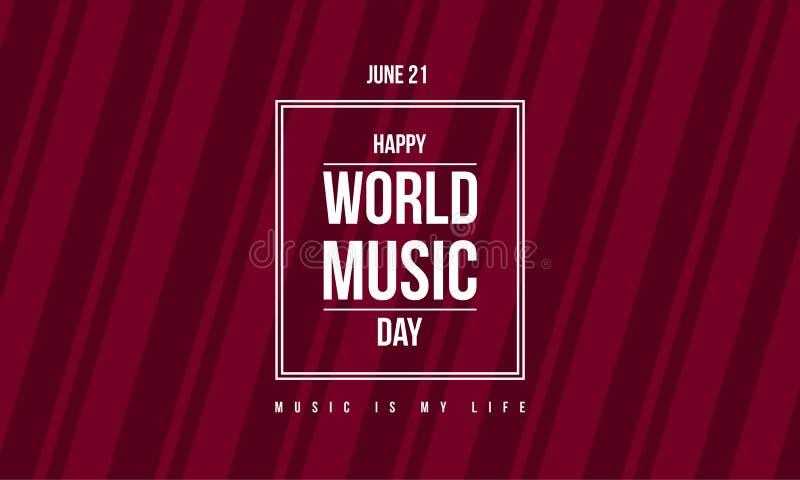 Stylowego sztandaru dnia światowy muzyczny świętowanie ilustracja wektor