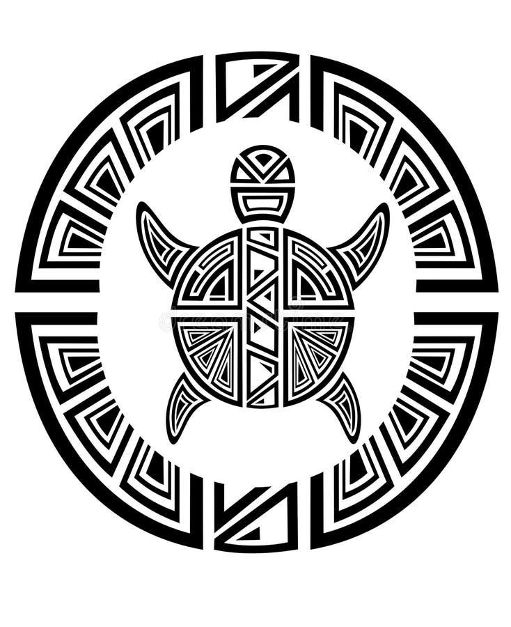 stylowego tatuażu plemienny żółwia koło royalty ilustracja