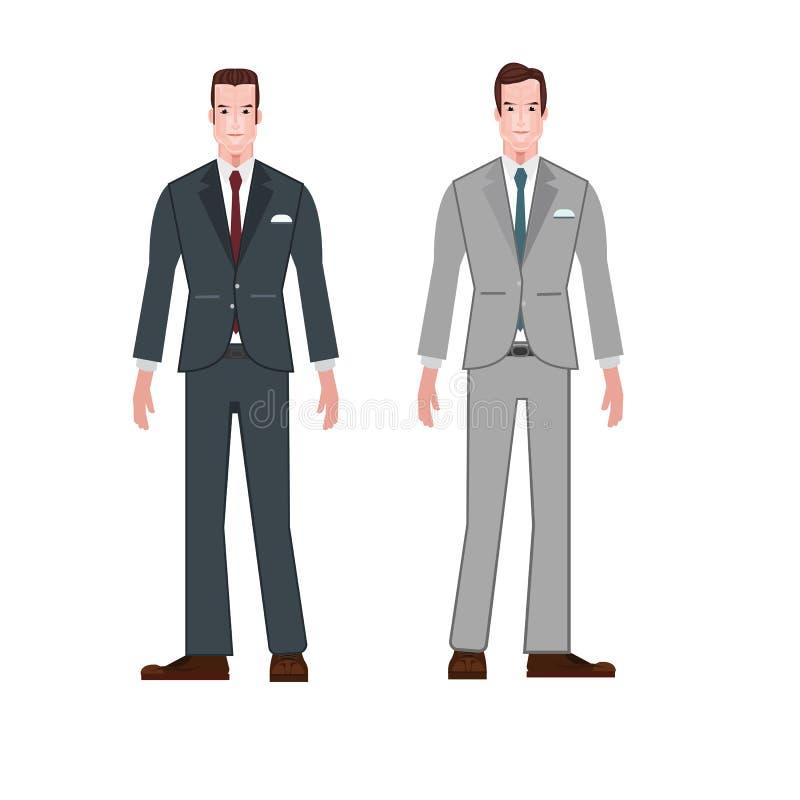 Stylowy biznesmena kostiumu odzieży kreskówki wektor obrazy royalty free