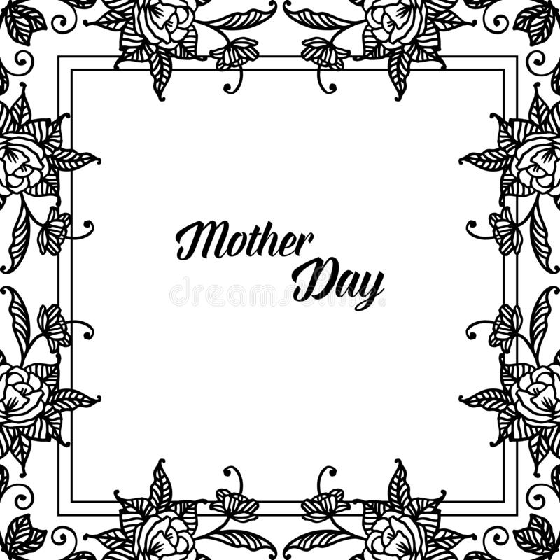 Stylowy elegancki literowanie macierzysty dzień, różnorodna rocznik rama, dekoracja kwiat i liście, wektor royalty ilustracja