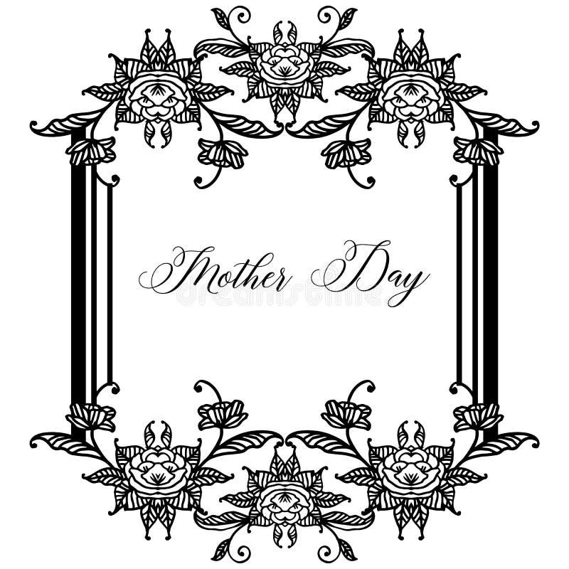 Stylowy elegancki literowanie macierzysty dzień, różnorodna rocznik rama, dekoracja kwiat i liście, wektor ilustracja wektor