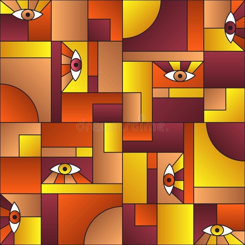 Stylowy wzór z oczami w geometrycznych kształtach, skandinawski druk tekstylny ilustracji