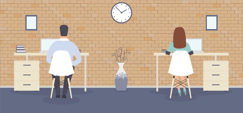 Stylu biuro: pracownicy siedzi z powrotem przy stołami Elegancki wnętrze z ściennym zegarem pokazuje czas, obrazy i wazę, ilustracji