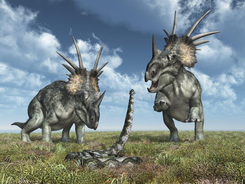Styracosaurus динозавра и гигантская змейка Titanoboa иллюстрация штока