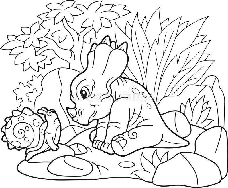 Styracosaurus bonito que olha o caracol ilustração royalty free