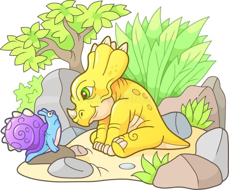 Styracosaurus die slak bekijken stock illustratie