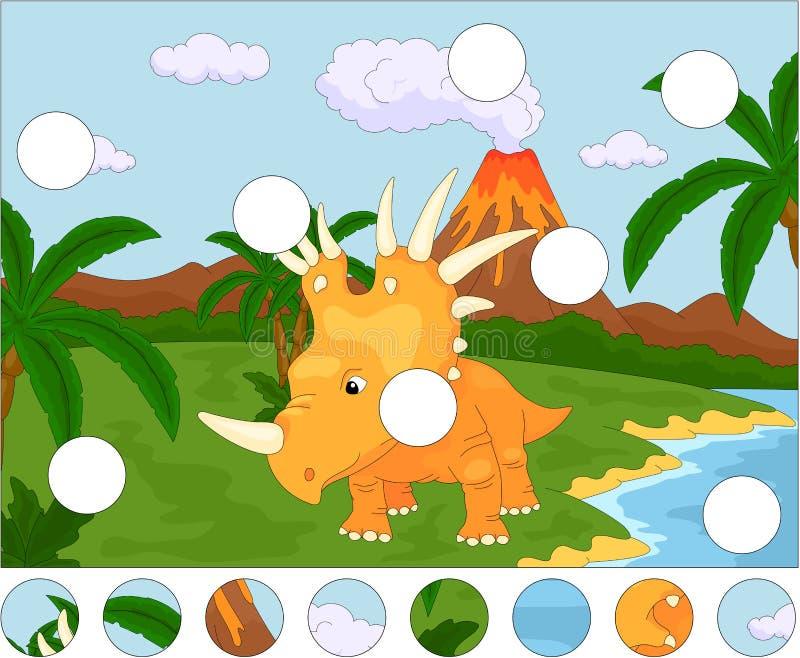 Styracosaurus lindo divertido en el fondo de un natu prehistórico ilustración del vector
