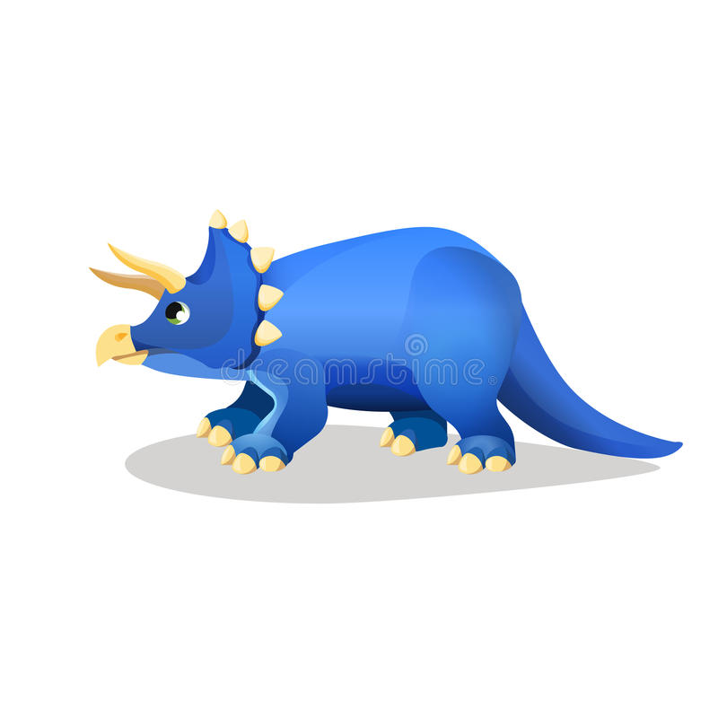 Styracosaurus, spiked lizard isolated on white. Herbivorous dinosaur with horns from Cretaceous Period. Dinosaurs character monster, prehistoric animal vector illustration