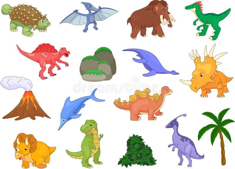 Styracosaurus, spinosaurus, ichthyosaur, tyrannosaur, pterodactyl, triceratops, pliosaur, stegosaurus, mammoth, volcano and palm royalty free illustration