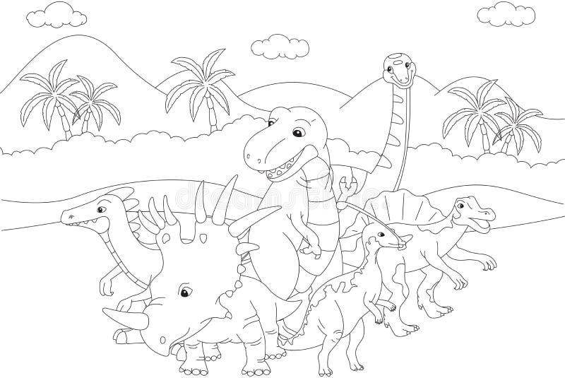Styracosaurus, spinosaurus, tyrannosaur, stegosaurus y parasau ilustración del vector
