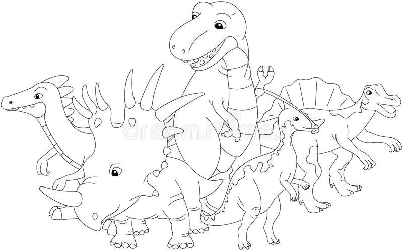 Styracosaurus, spinosaurus, tyrannosaure, stegosaurus et parasau illustration libre de droits