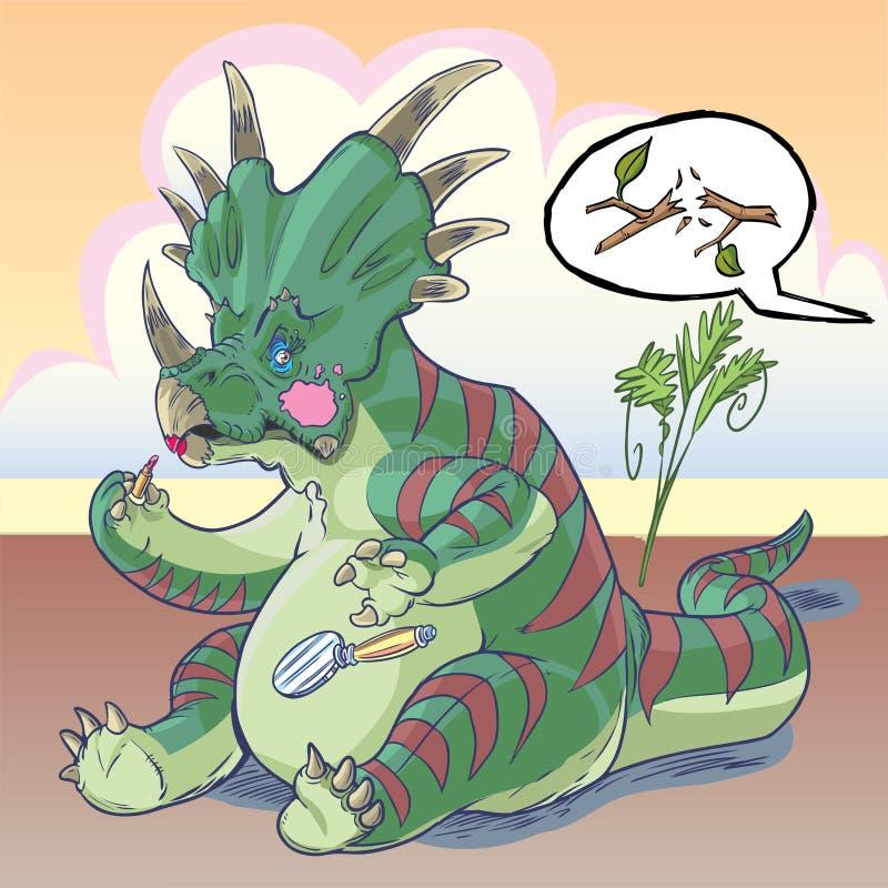 Styracosaurusdinosaurie som applicerar makeup royaltyfri illustrationer