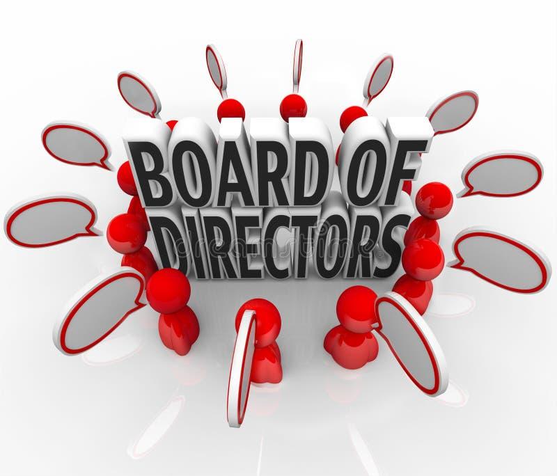 StyrelseFolk Anförande Bubbla Diskussion Företag ledning stock illustrationer