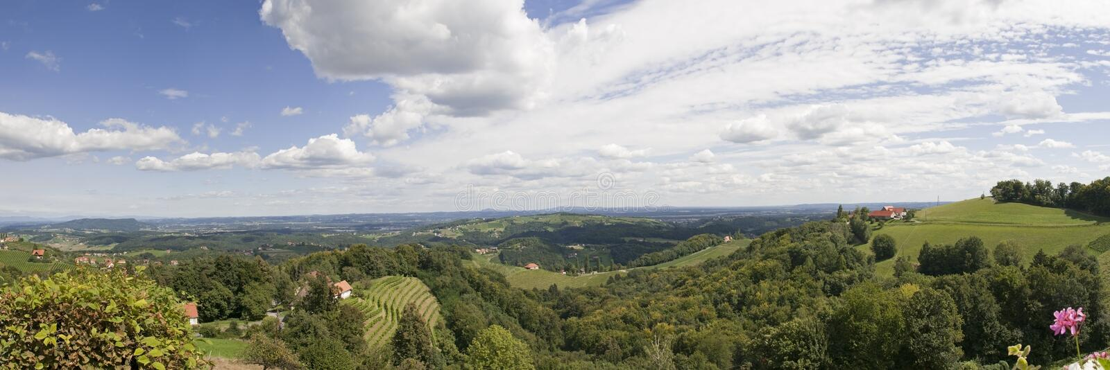Styria. View from Kitzeck in Styria to Graz on a sunny day stock photography