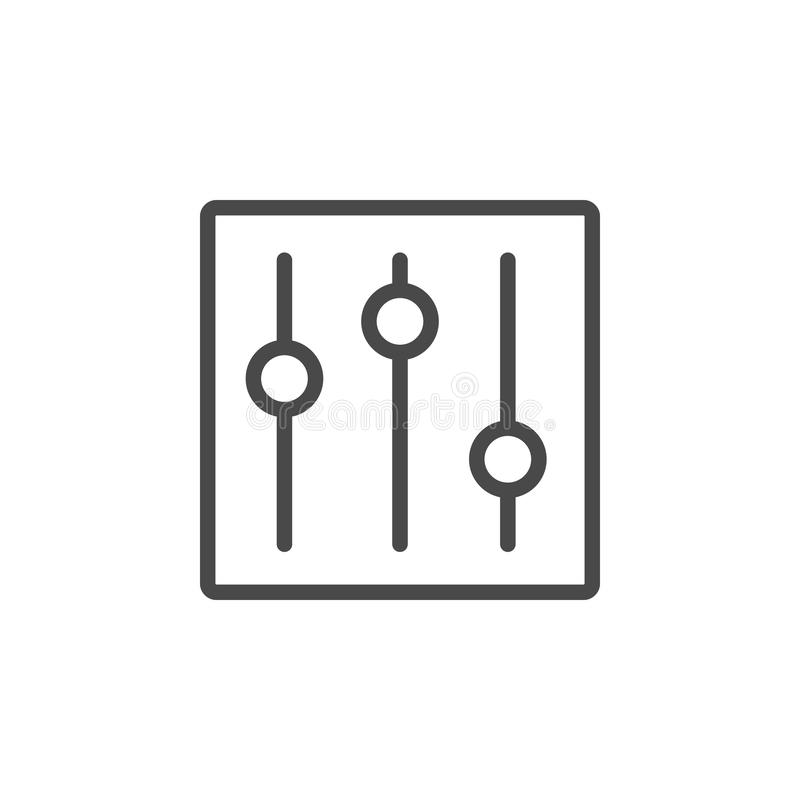 Styrning alternativ, inställningsvektorsymbol F?r ?versiktsvektor f?r multimedia minimalist symbol royaltyfri illustrationer