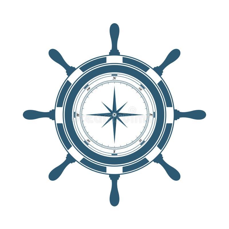 Styrninghjul och kompass stock illustrationer