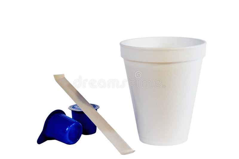 Styrofoam Coffee Cup & Creamer stock images