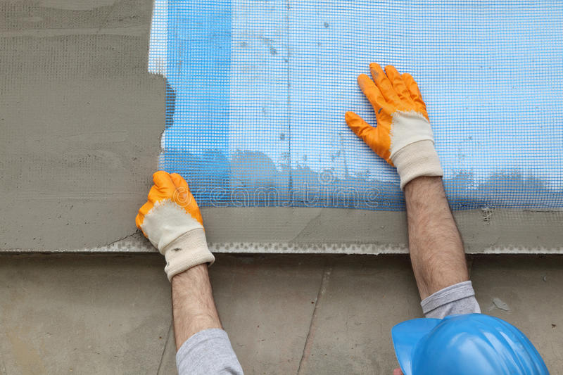 Closeup Of Layers Over Polystyrene Insulation, Mesh, Plaster ...