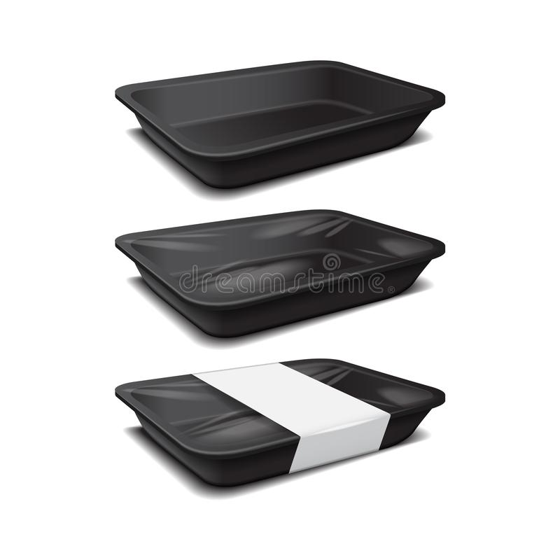 Styrofoam food storage. Black food plastic tray, dark foam meal container, empty box set for food vector illustration. For your design vector illustration
