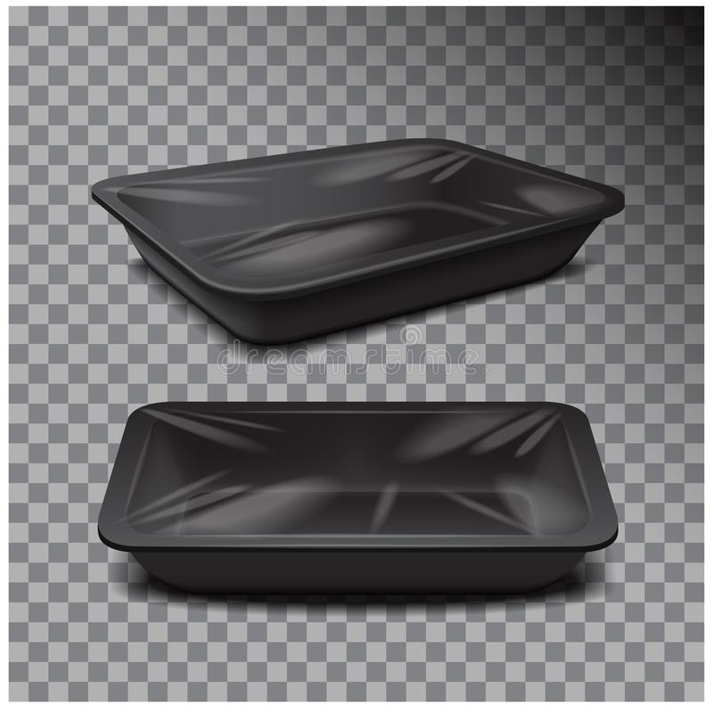 Styrofoam food storage. Black food plastic tray, dark foam meal container on transparent background. For your design stock illustration