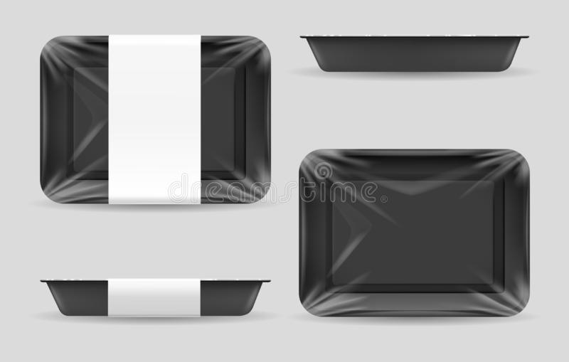 Styrofoam food storage. Dark food plastic tray, black foam meal container, empty fresh foods box vector illustration isolated on white background royalty free illustration